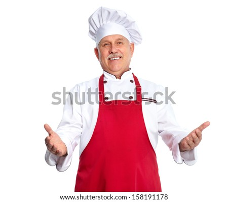 Chef inviting at restaurant. Isolated over white background - stock photo