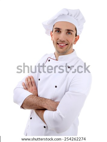 Chef isolated on white - stock photo