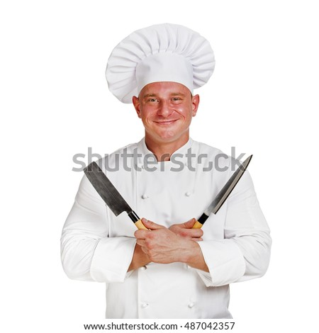 Chef man holding two knifes.