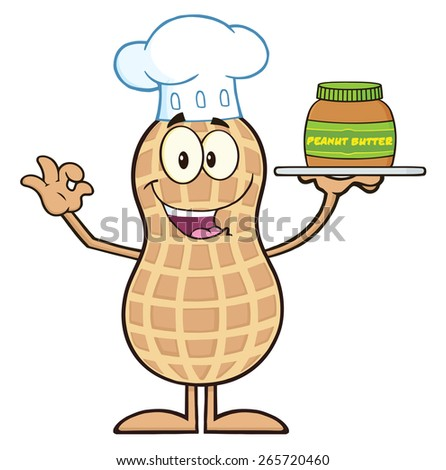 Chef Peanut Cartoon Character Holding A Jar Of Peanut Butter. Raster Illustration Isolated On White - stock photo