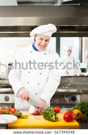 Chef preparing vegetables in his kitchen - stock photo