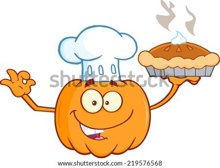 Chef Pumpkin Cartoon Mascot Character Holding Perfect Pie. Raster Illustration - stock photo