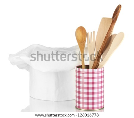Chef's hat with spoons isolated on white
