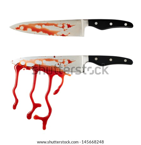 Chef's steel knife with a blood stains isolated over white background, set of two foreshortenings - stock photo
