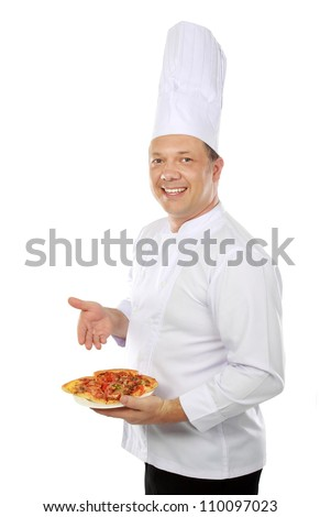chef serving pizza isolated on white background