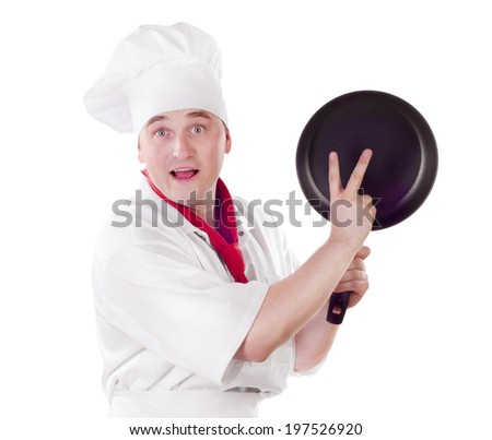 Chef showing empty pan  isolated on white background