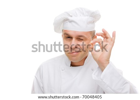 Chef showing ok hand sign isolated on white - stock photo