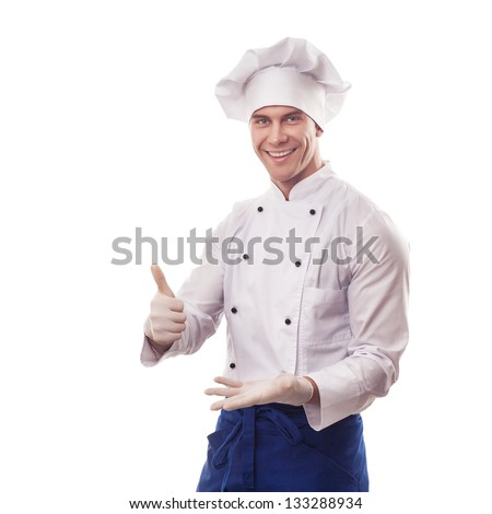 Chef standing on white background with thumbs up - stock photo