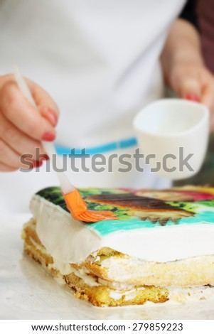 Chef stick decorative edible image on the cake