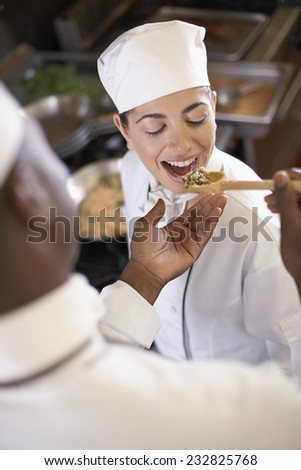 Chef Tasting a Dish - stock photo