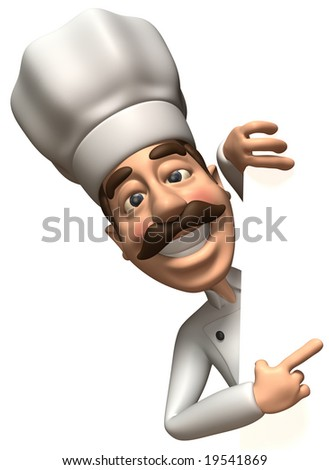 Chef with a blank sign