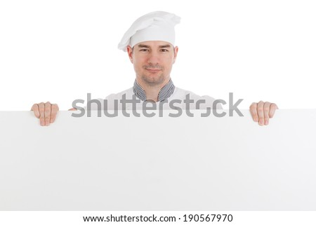 Chef with horizontal blank board. Isolated on white background