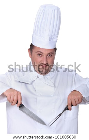 Chef with knife and fork - stock photo