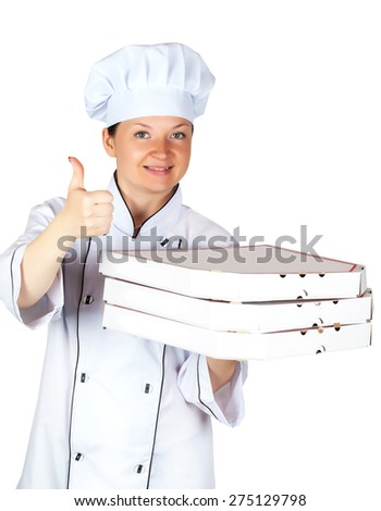 chef with pizza in box isolated on a white background - stock photo