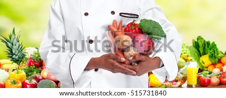 Chef with vegetables