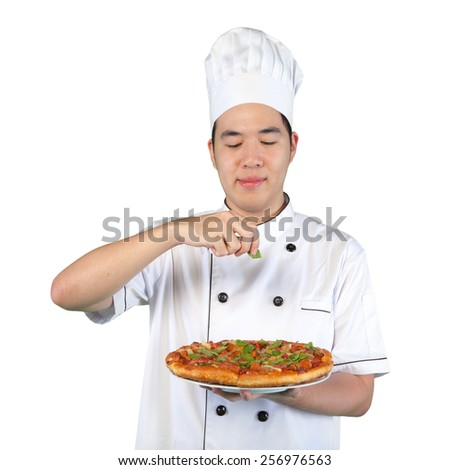 Chef with white uniform making pizza isolated on white background (with clipping path