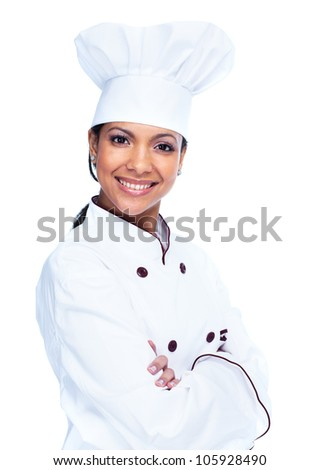 Chef woman. Baker. Isolated on white background. - stock photo