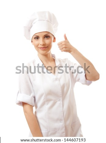 Chef woman, cook, happy thumbs up, isolated on white background
