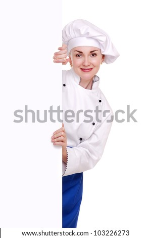 Chef woman holding the blank board