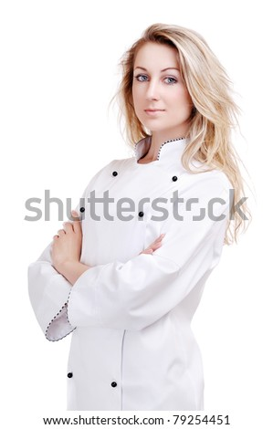Chef woman isolated on white - stock photo