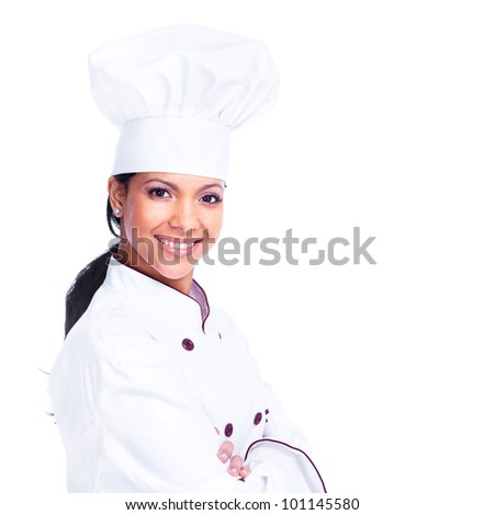 Chef woman. Isolated on white background.