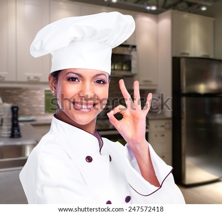 Chef woman. Isolated on white background. - stock photo