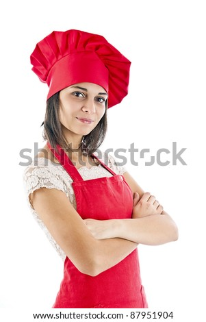 Chef woman. Isolated over white background. - stock photo