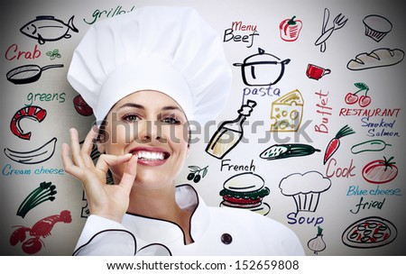 Chef woman. Over gray background. - stock photo