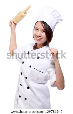 Chef woman smiling happy holding baking rolling pin wearing uniform isolated on white background.