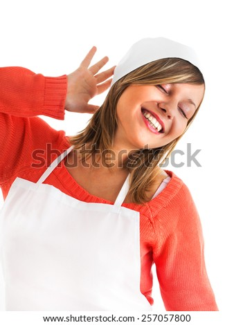 Chef woman smiling with closed eyes - stock photo