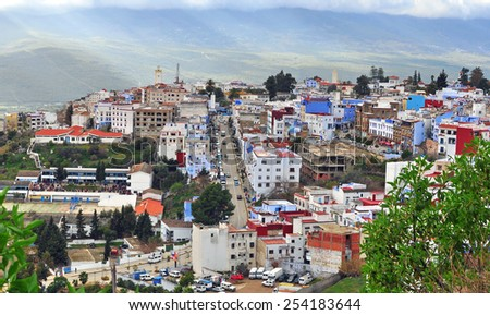 CHEFCHAOUEN, MOROCCO - FEBRUARY 16: View of Chefchaouen old town on February 16, 2015. Chefchaouen is the ancient town located in northern part of Morocco.