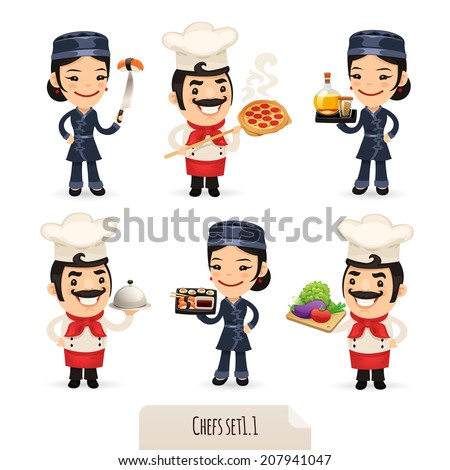 Chefs Cartoon Characters Set1.1. Isolated on White Background. Clipping paths included.