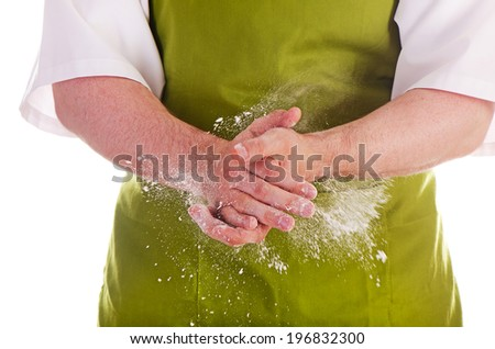chefs  hands with flour isolated on a white background - stock photo
