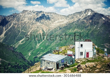 CHEGET, RUSSIA - July 05: Weather station. Laboratory Mountain Geophysical Institute, which conduct meteorological observations in July 05, 2015 in Cheget, Elbrus region, Russia - stock photo
