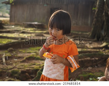 Cheingmai , Thailand , September 19 : Unidentified H'mong ethnic minority child in a festival on September 19, 2014 in Cheingmai, Thailand.