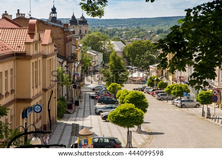 Chelm, Poland - June 12, 2016: The view from the bell tower of the Basilica of the Virgin of Our Lady of the city Chelm in eastern Poland - stock photo