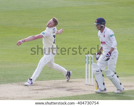 CHELMSFORD, ENGLAND - APRIL 11 2016: Liam Norwell of Gloucestershire bowling during the Specsavers County Championship match between Essex and Gloucestershire at the County Ground in Chelmsford