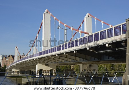 Chelsea Bridge over the River Thames in London, England - stock photo