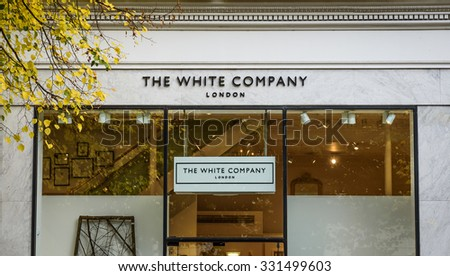 Cheltenham, Gloucestershire, England - October 20th, 2015: White Company shop frontage opposite the municipal offices