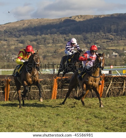 CHELTENHAM, GLOUCS; JAN 30:  Jockey Ruby Walsh (r) and Paul Moloney (l) battle over hurdles in the first race at Cheltenham Racecourse, UK, January 30, 2010 in Cheltenham, Gloucestershire - stock photo