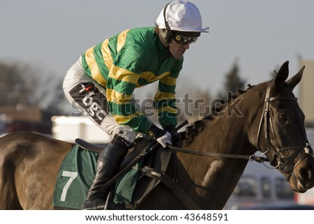 CHELTENHAM, GLOUCS: jockey A P McCoy rides Four Strong Winds out to take second place over hurdles in the first race at Cheltenham Racecourse, UK, January 1 2010, Cheltenham, Gloucestershire - stock photo