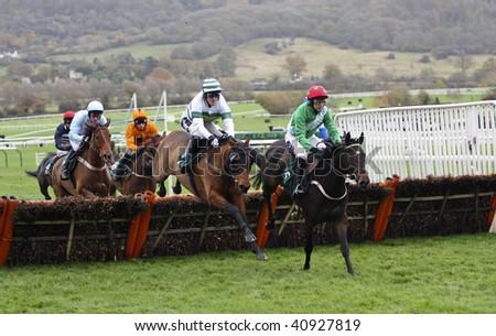 CHELTENHAM, GlOUCS: NOV 14:  Jockeys Tony McCoy and Paddy Brennan battle together over the fences in the first race at Cheltenham Racecourse UK, 14th November 2009 in Cheltenham, Gloucs - stock photo