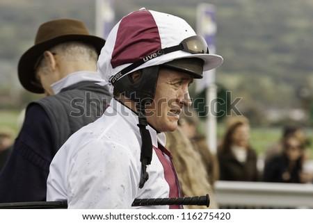 CHELTENHAM, GLOUCS, OCT 20 2012, jockey barry geraghty at Cheltenham Racecourse, cheltenham UK Oct 20 2012 - stock photo