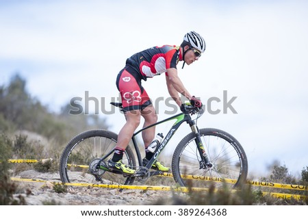 Chelva, SPAIN - MARCH 6: Raul Flores during Spanish Open BTT XCO on March 6, 2016 in Chelva, Spain