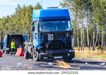 CHELYABINSK REGION, RUSSIA - AUGUST 26, 2011: Crashed semi-trailer truck Renault Premium at the interurban freeway. - stock photo