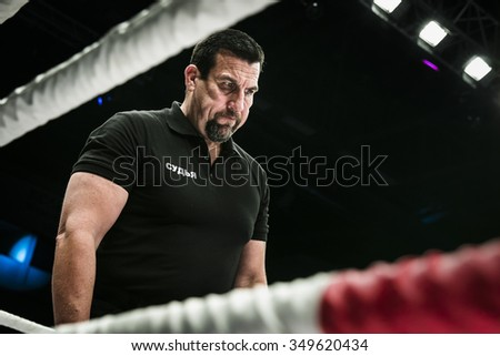 Chelyabinsk, Russia - December 5, 2015: referee John McCarthy in ring closeup during Cup of Russia MMA - stock photo