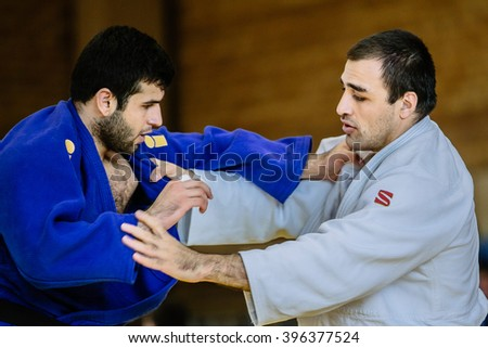 Chelyabinsk, Russia -  March 19, 2016: two fighters judo heavy weight during Russian competition on judo - stock photo