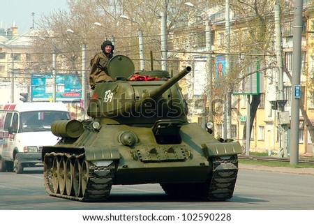 CHELYABINSK, RUSSIA - MAY 9: Russian tank T-34 at a Military parade in Chelyabinsk, Russia on May 9, 2012 in Chelyabinsk, Russia - stock photo