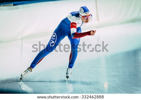 Chelyabinsk, Russia - October 15, 2015: girl speed skaters on a running track skating rink during Cup of Russia on speed skating