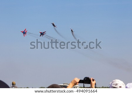 CHELYABINSK, RUSSIA - OCTOBER 1th 2016: The fighter on a Air show 2016 in military airfield